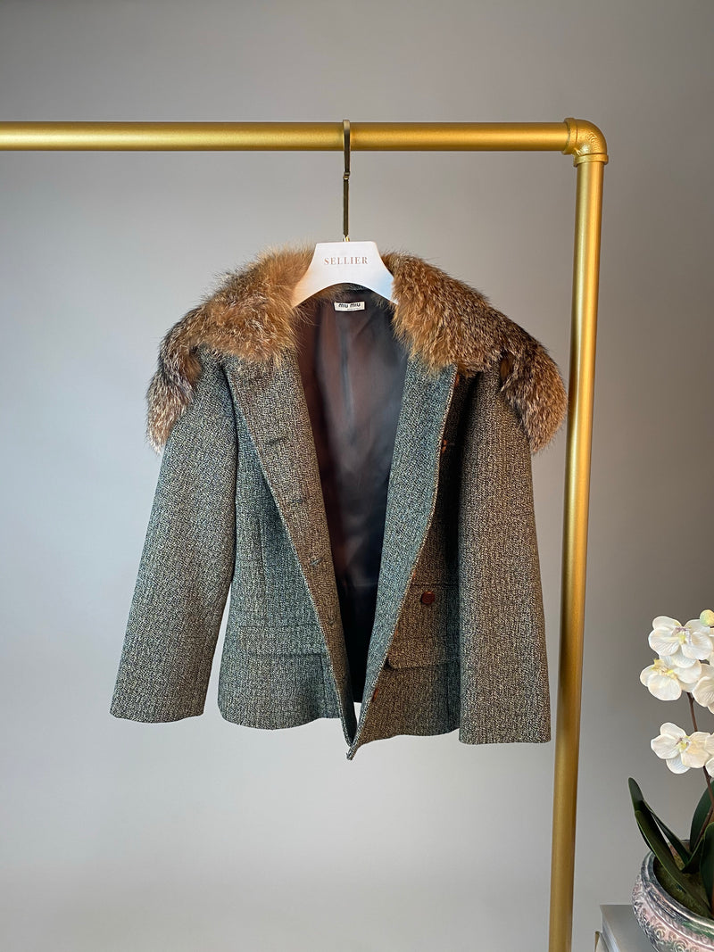 MIU MIU Blazer Jacket with Fox Fur Collar Size 36