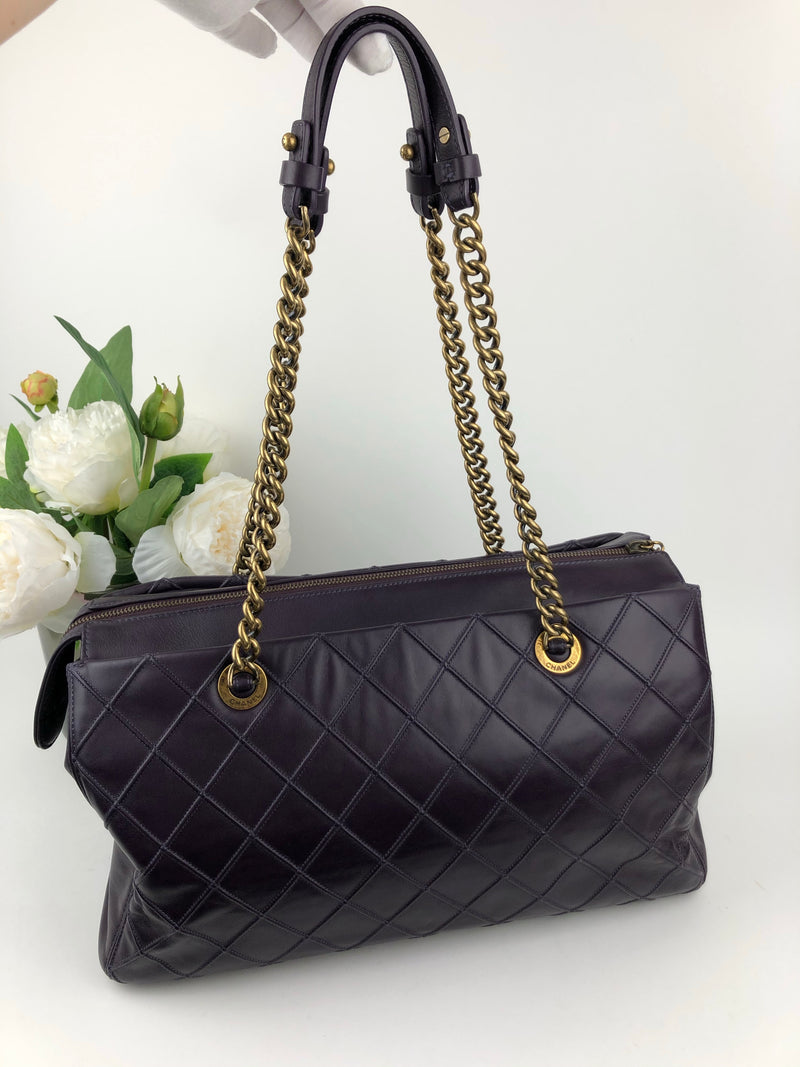 Chanel Plum Lambskin Reissue Shopper Bag with Gold Hardware
