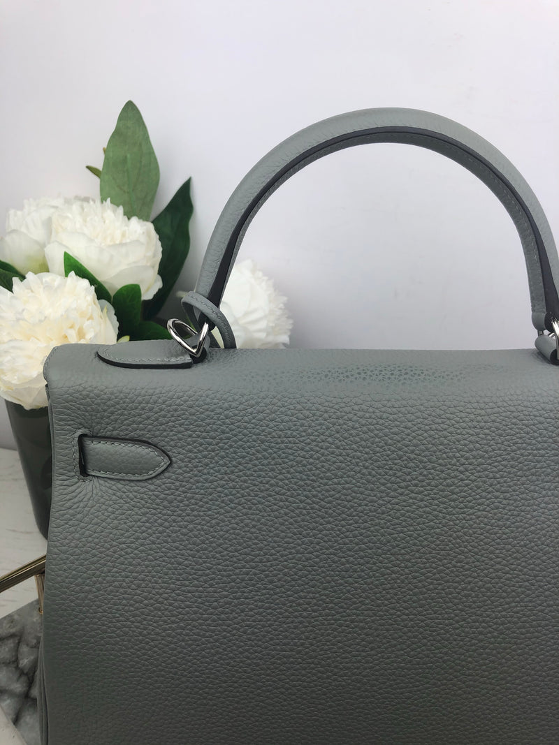 Hermes Kelly Retourne 32cm in Togo Gris Mouette and Palladium Hardware