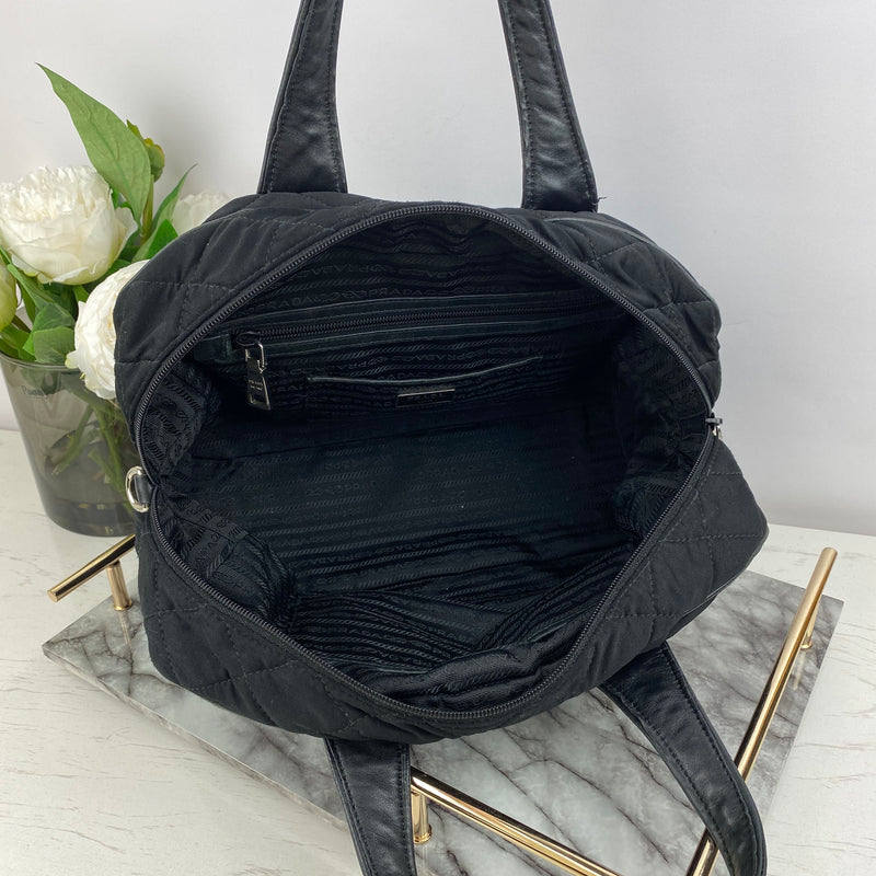 Prada Black Quilted Handbag with Leather Handle Straps