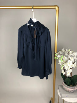 Zimmermann Navy V-Neck Tie Blouse Size 0 (UK8)