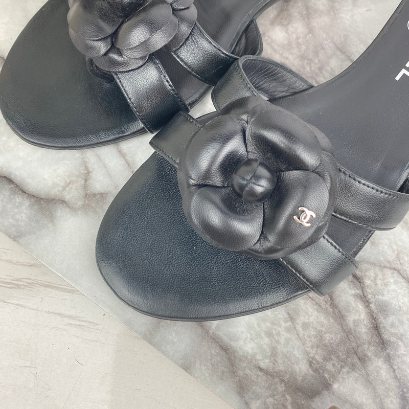 Chanel Black Leather Camellia Sandals Size 38.5