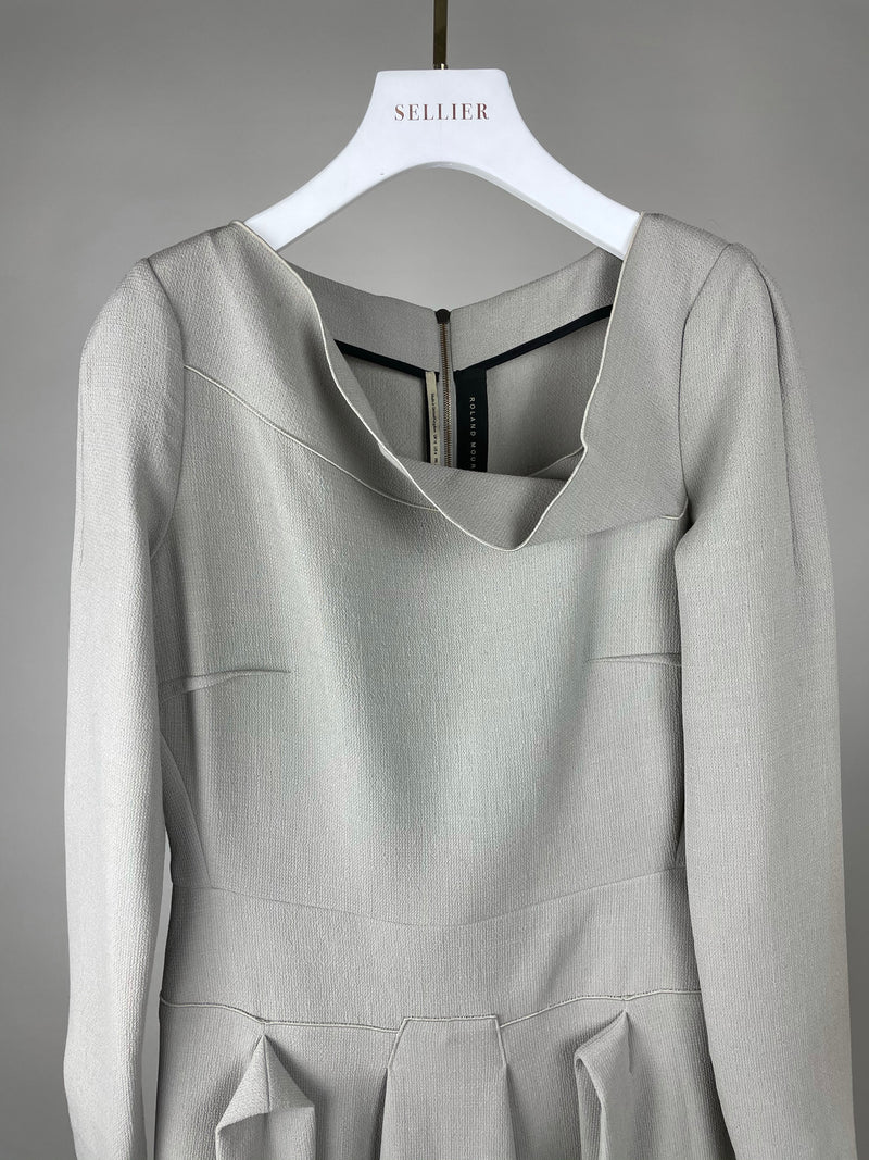 Roland Mouret Grey Asymmetric Neckline Wool Dress Size 40