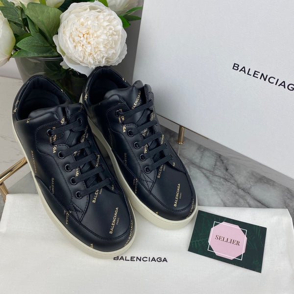 Balenciaga Black Trainers with Gold Printed Logo Size 35