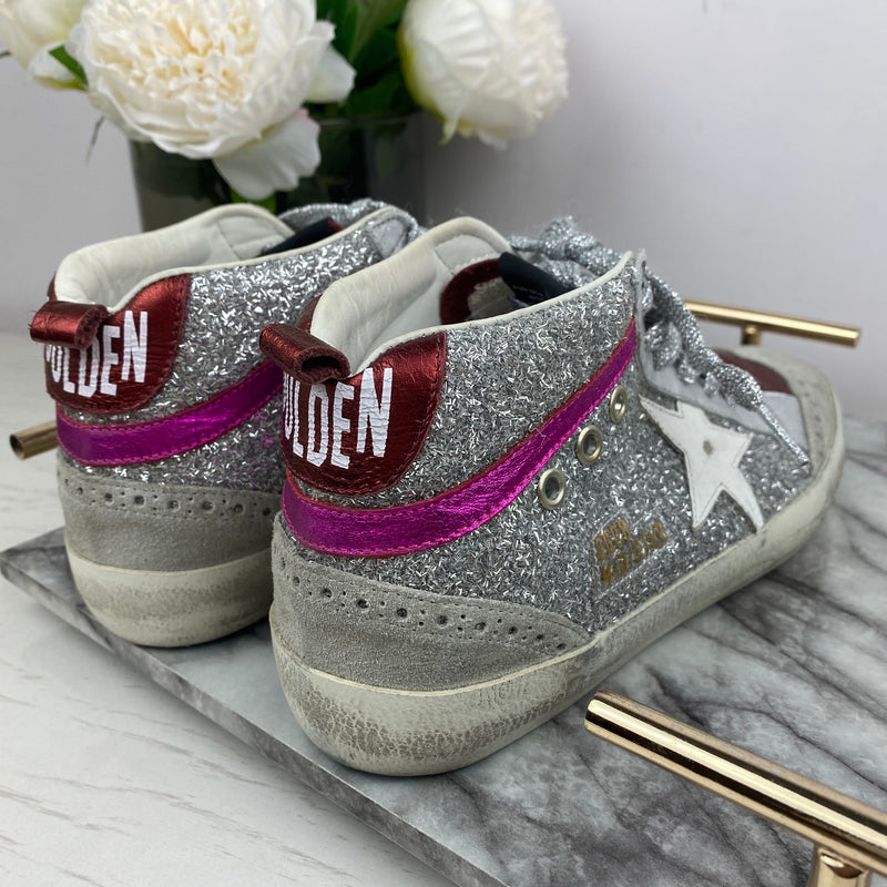 Golden Goose Confetti Glitter Silver High Top Trainers Size 38