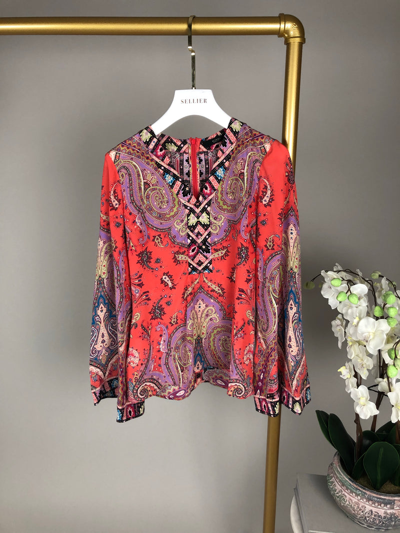 Etro Coral Pink Silk Blouse Size 38 (UK10)