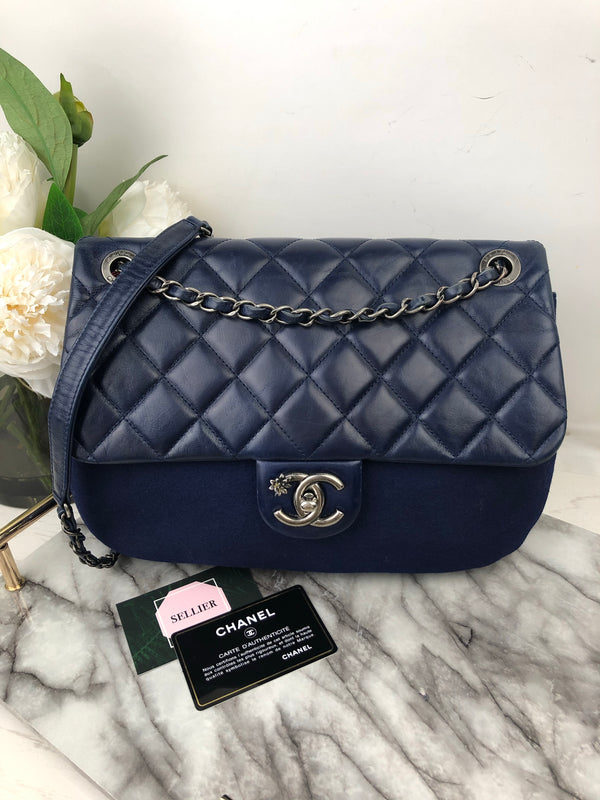 Chanel Blue Lambskin and Fabric Contrast Flap Bag