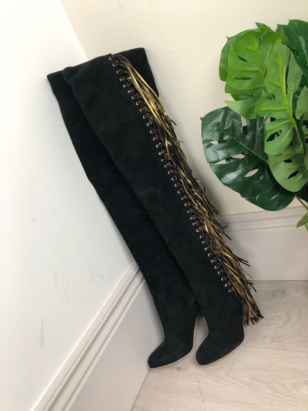 Brian Atwood Black and Gold Suede Tassel Thigh-High Boots Size 38