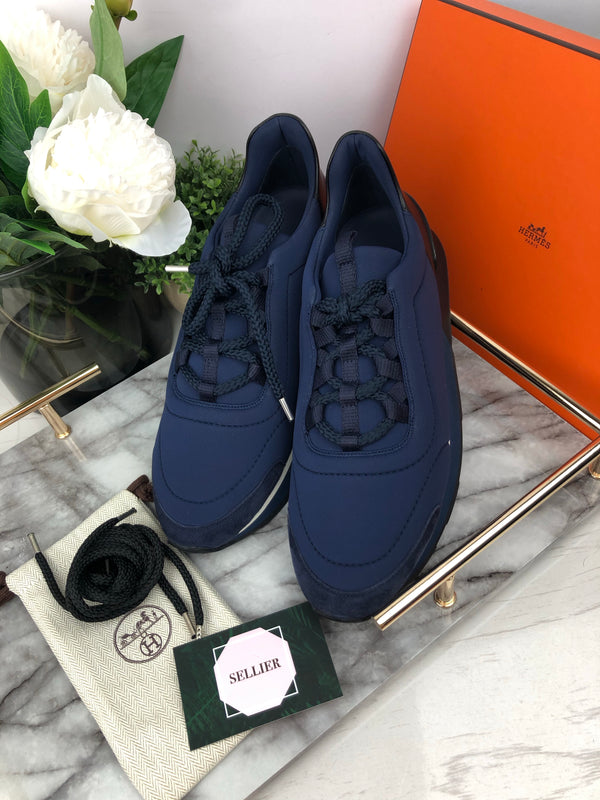 Hermes Navy and Black Platform Trainers Size 40