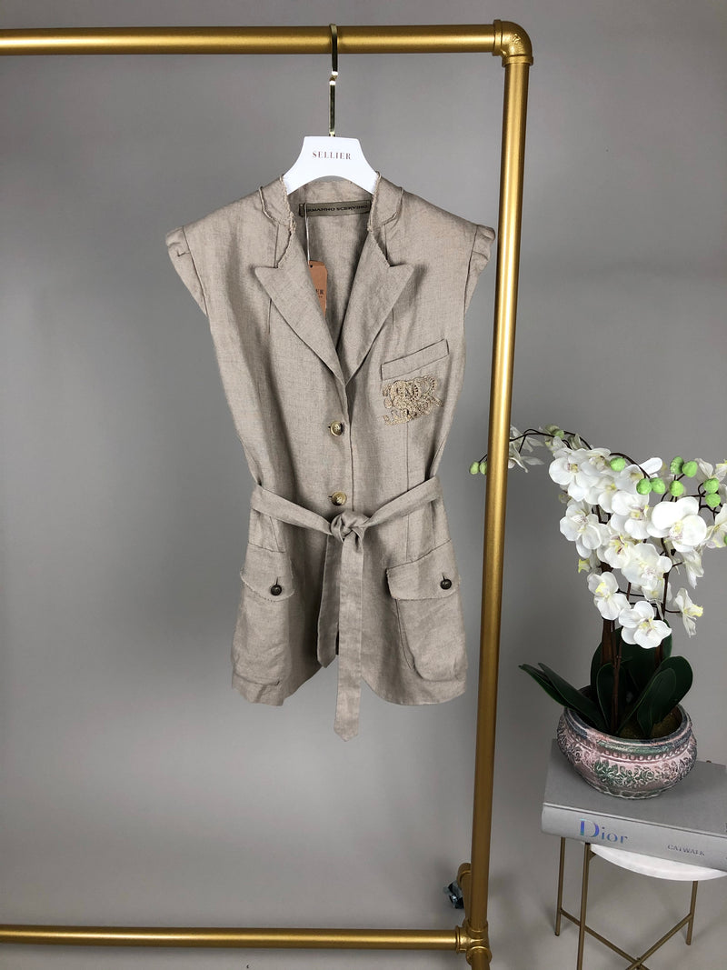 Ermanno Scervino Beige Linen Sleeveless Jacket Size IT44 (UK12)