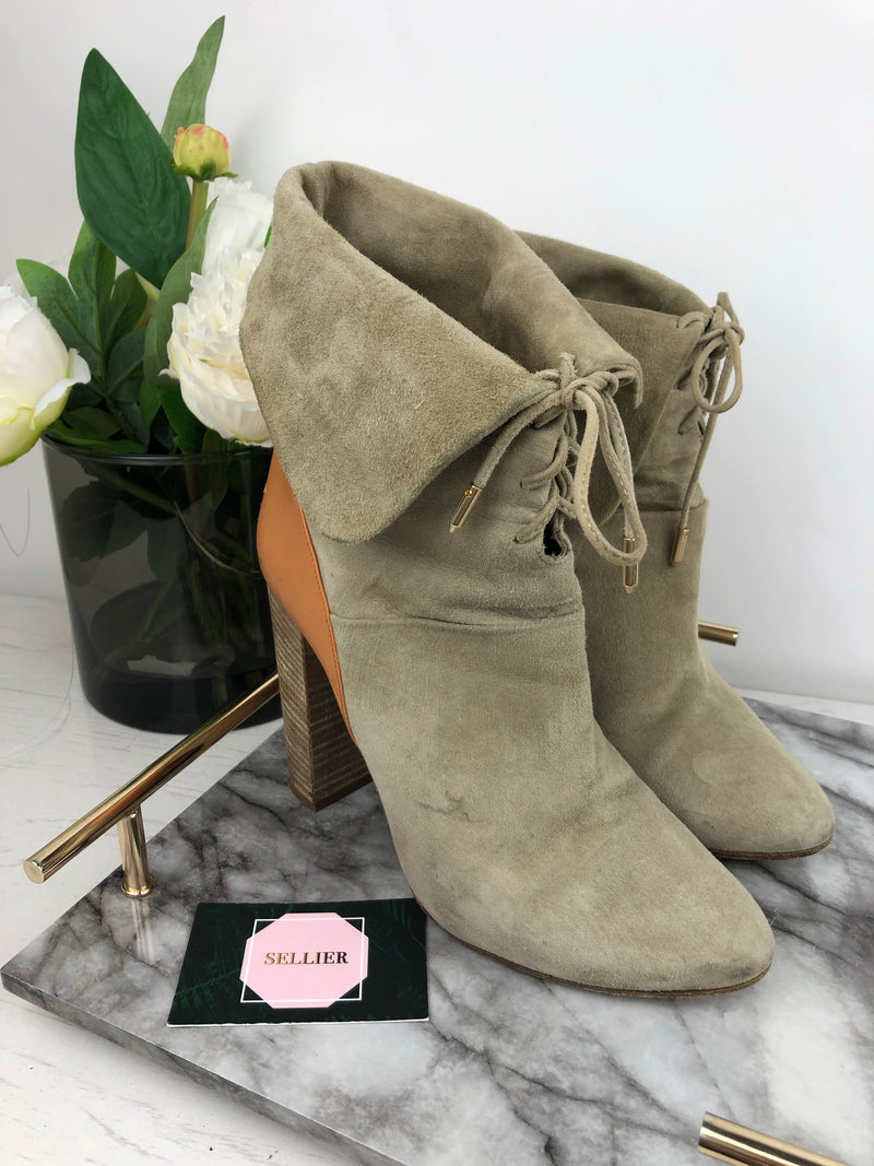 Aquazzura Beige Suede Heel Boots with Tan Leather Back Size 39