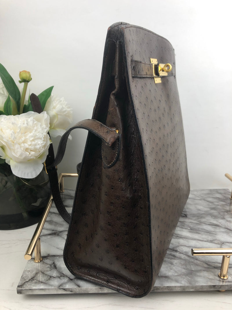 Hermes Kelly Sport in Chocolate Ostrich and Gold Hardware