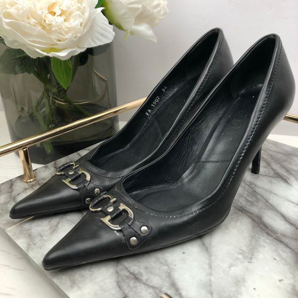 Christian Dior Black CD Buckle Pointed Court Heels Size 36