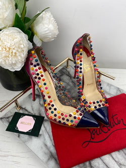 Christian Louboutin Perspex Multicolour Rockstud Point Heels Size 38
