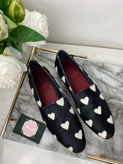 Burberry Black Pony Heart Loafers Size 40