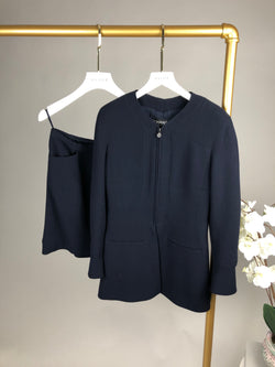 Chanel Navy Wool Skirt and Zip Jacket Set Size 38