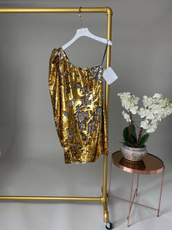 Amen Gold and Silver Contrast Sequin One Shoulder Dress Size 42 / UK 8
