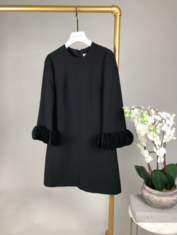 Valentino Black Dress with Pleated Sleeve Detail Size 36 (UK8)