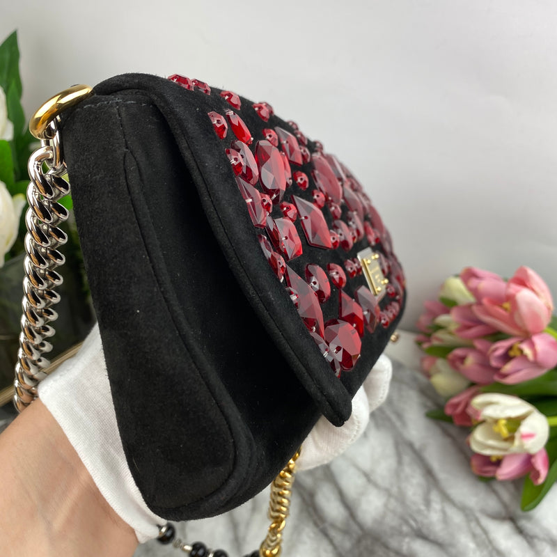 Dolce & Gabanna Red Crystal Encrusted Suede Baguette Bag