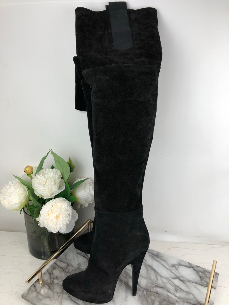 Givenchy Black Suede Over The Knee Heels Size 38