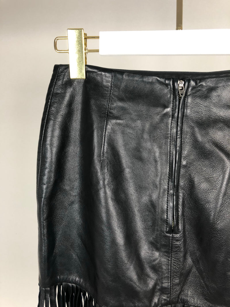The Perfext Black Leather Skirt with Fringe Detail Size XS (UK8)
