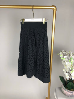 Tods Black Laser Cut Skirt Size 38 (UK6)