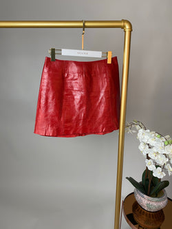 Reformation Red Patent Leather Skirt Size US6