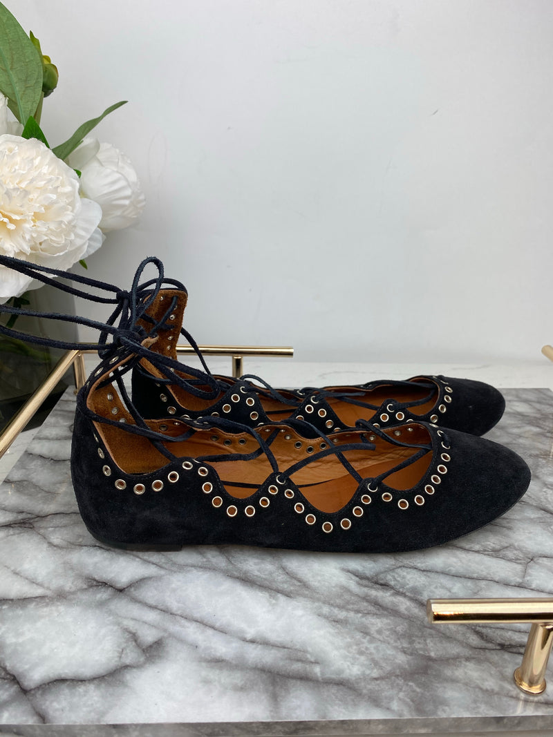 Isabel Marant Black Suede Perforated Lace Pumps Size 40
