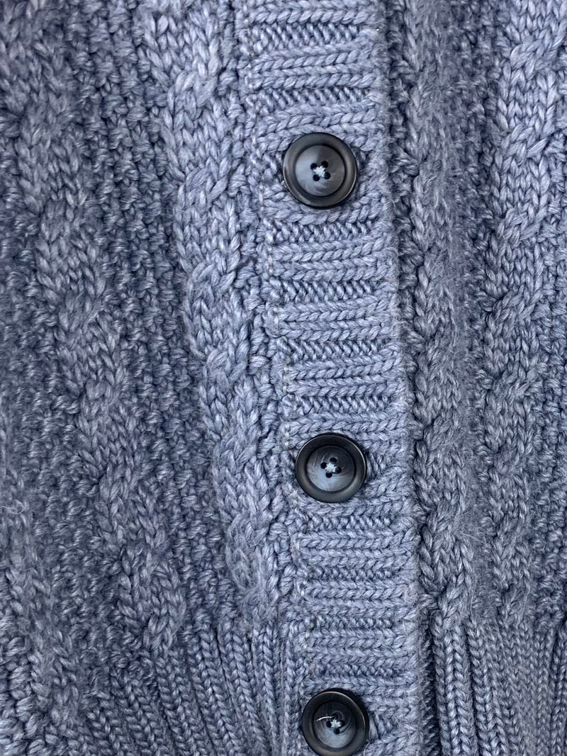 Maison D'AngelAnn Blue Knitted Jacket with Fur Trim Hood Size 40 (UK8)
