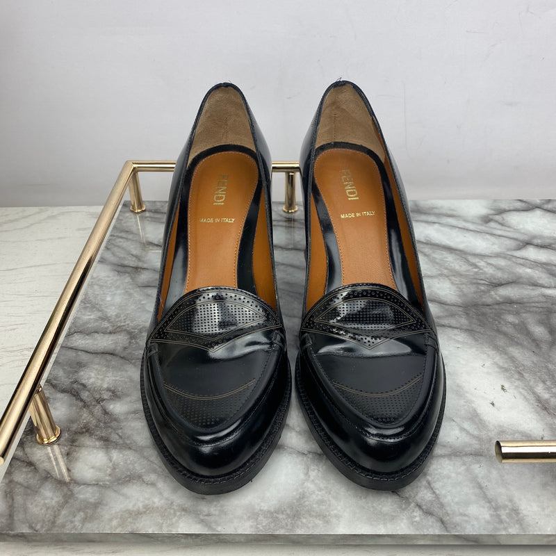 Fendi Black Leather Heeled Loafers with Navy Blue Heel Size 37