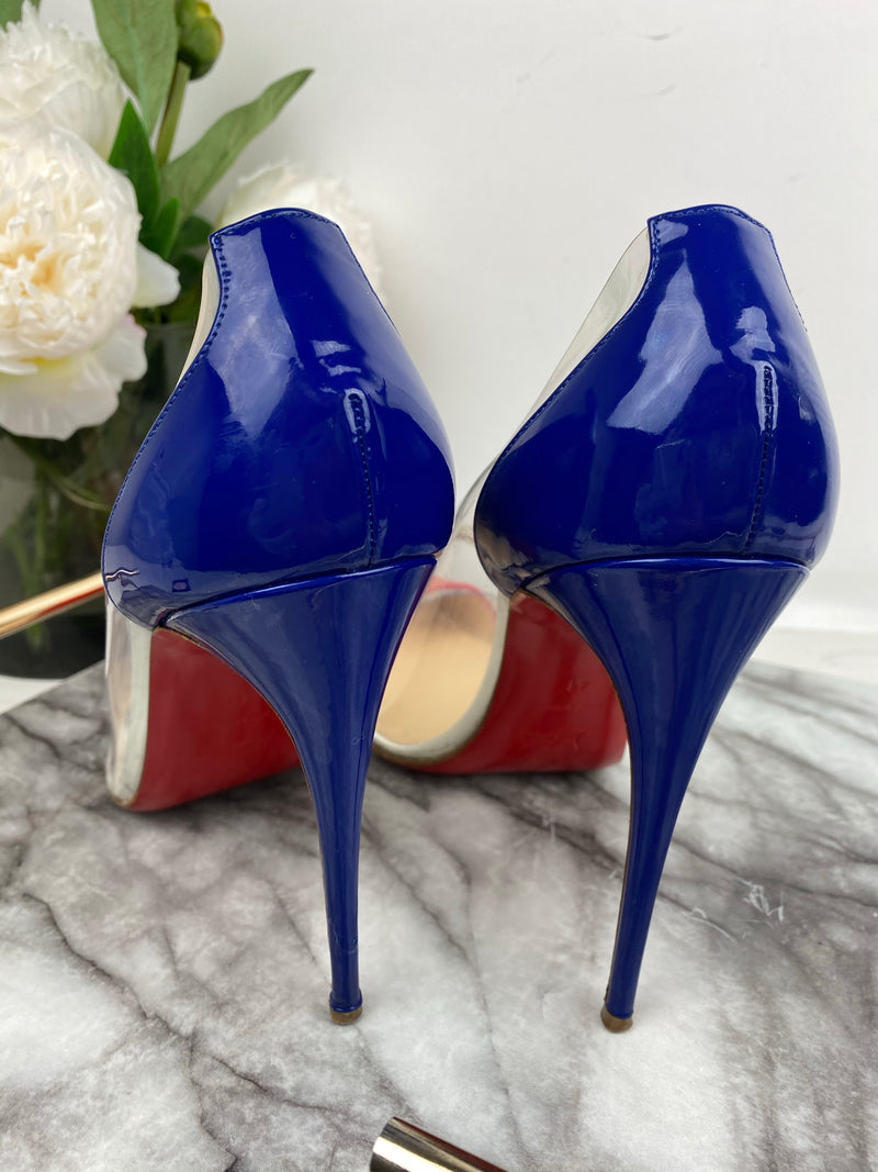 Christian Louboutin Red and Navy Perspex Heels Size 41