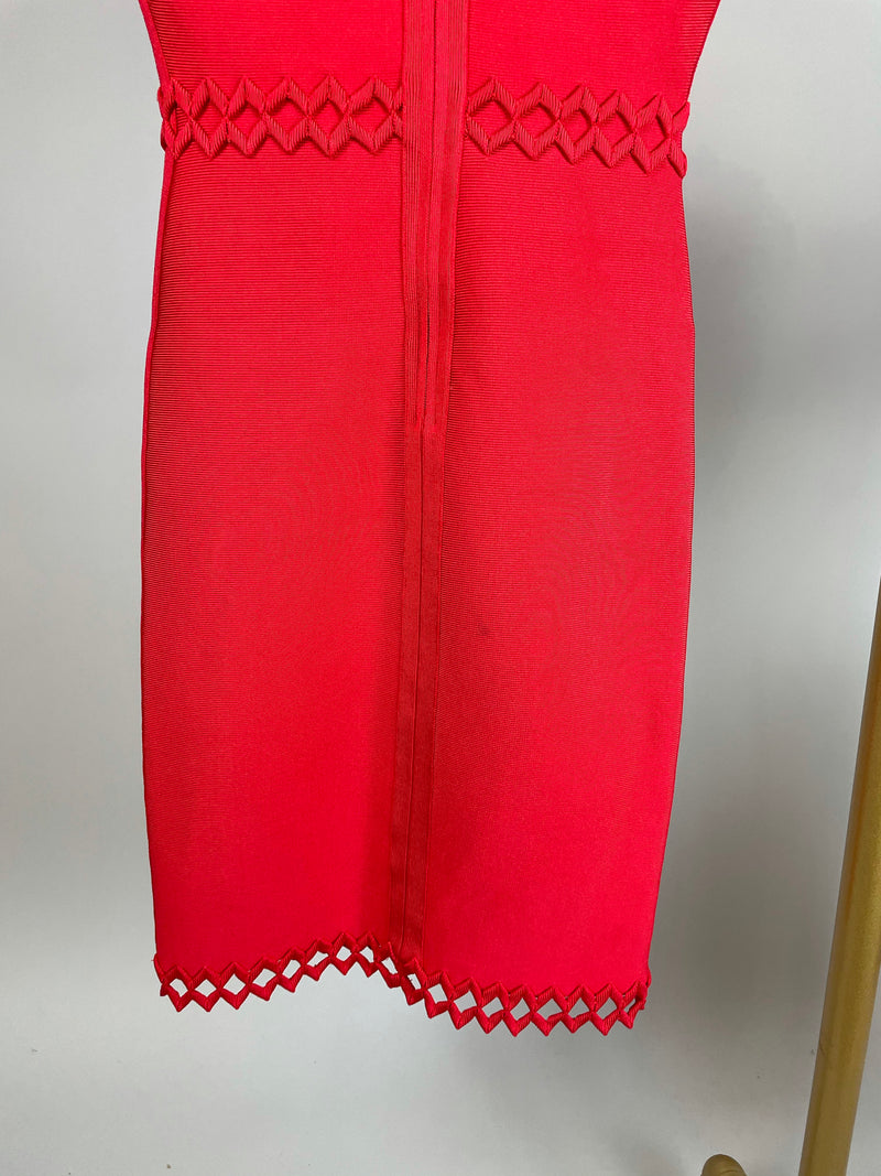 Herve Leger Coral Red Lattice Bodycon Dress Size S