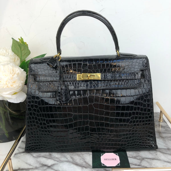 Hermes 32cm Kelly in Black Niloticus Shine Crocodile with Gold Hardware