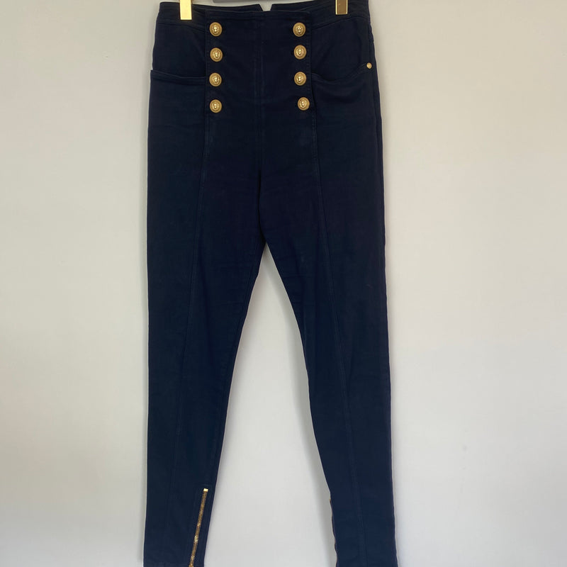 Balmain Navy Blue Jeans with Gold Buttons Size 40 (UK 10-12)