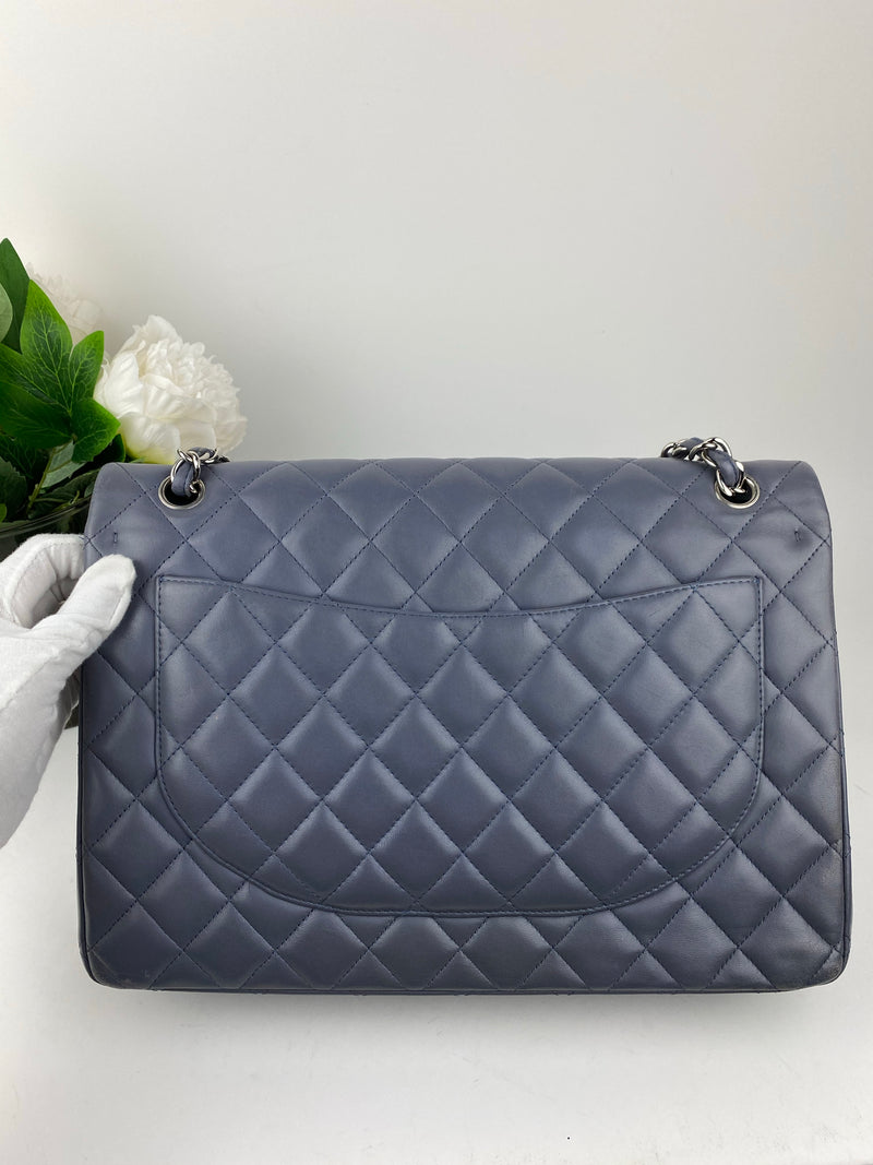 Chanel Double Maxi Flap Bag in Silvermist Lambskin