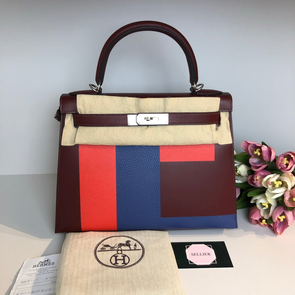 "Hermes Kelly 28cm ""Letter E"" in Red Sombrero with Palladium Hardware"