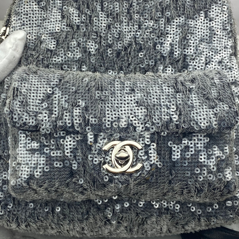 Chanel Silver Sequin Waterfall Backpack with Silver Hardware