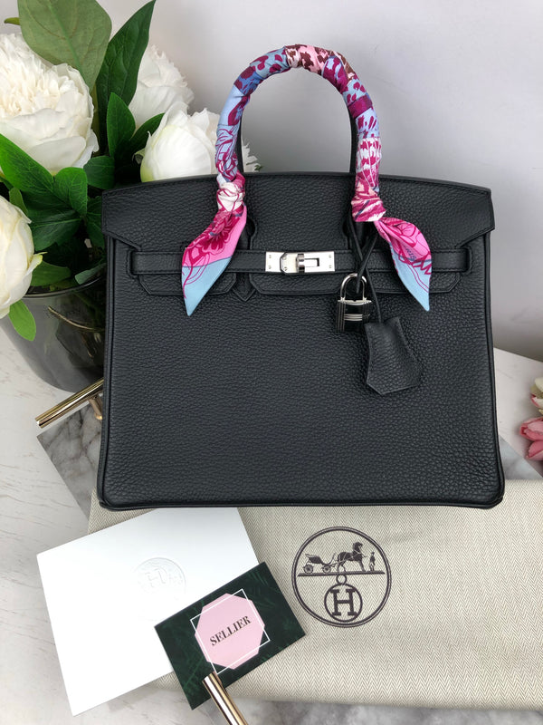 Hermes Birkin 25cm in Black Togo with Palladium Hardware
