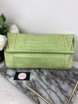 Nancy Gonzales Pastel Green Crocodile Large Clutch