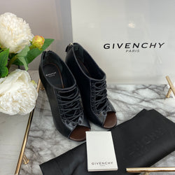 Givenchy Black Lace Up Ankle Boots with Pin Heel Size 37.5