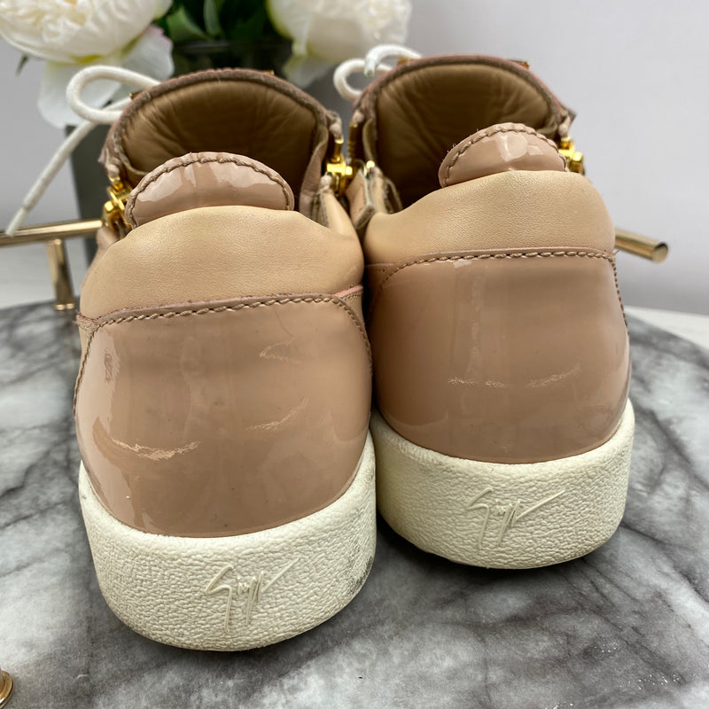 Giuseppe Zanotti Nude Trainers with Gold Zip Detail Size 39