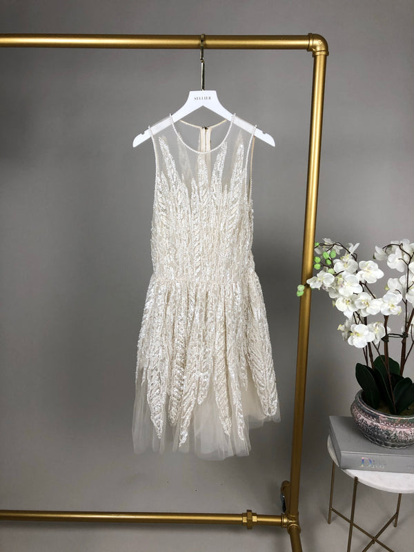Elie Saab Couture White Midi Sequin Embellished Dress Size 38 (UK 8) RRP £5000