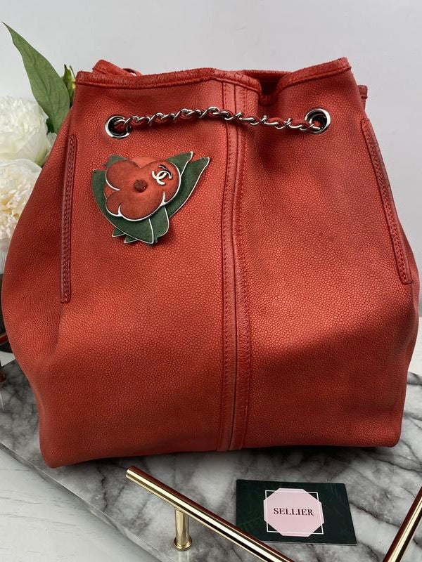 Chanel Red Poppy Leather Handbag