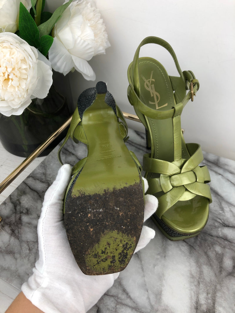 Yves Saint Laurent YSL Olive and Metallic Stingray Tribute Heels Size 38.5