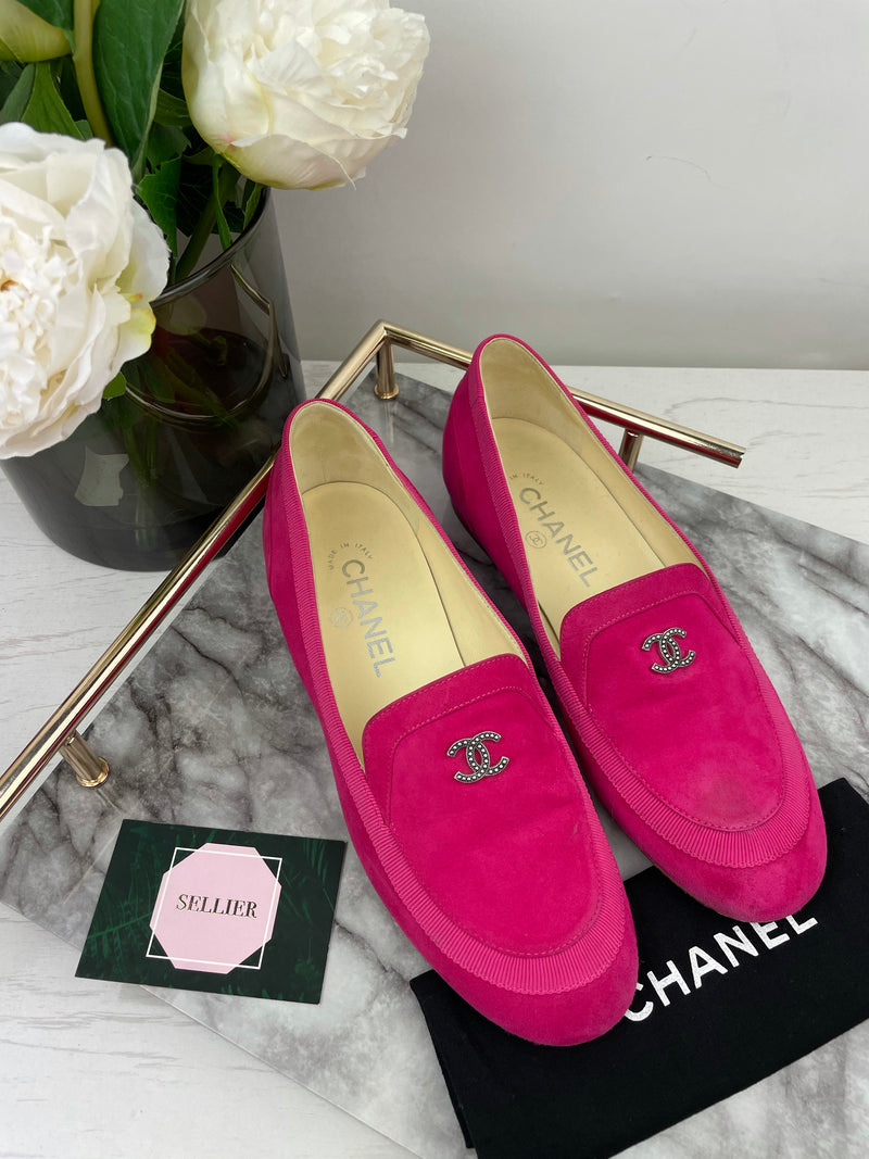 Chanel Fuchsia Suede Loafers Size 36.5