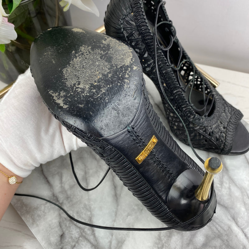 Tom Ford Black Lace up Heels Size 39.5