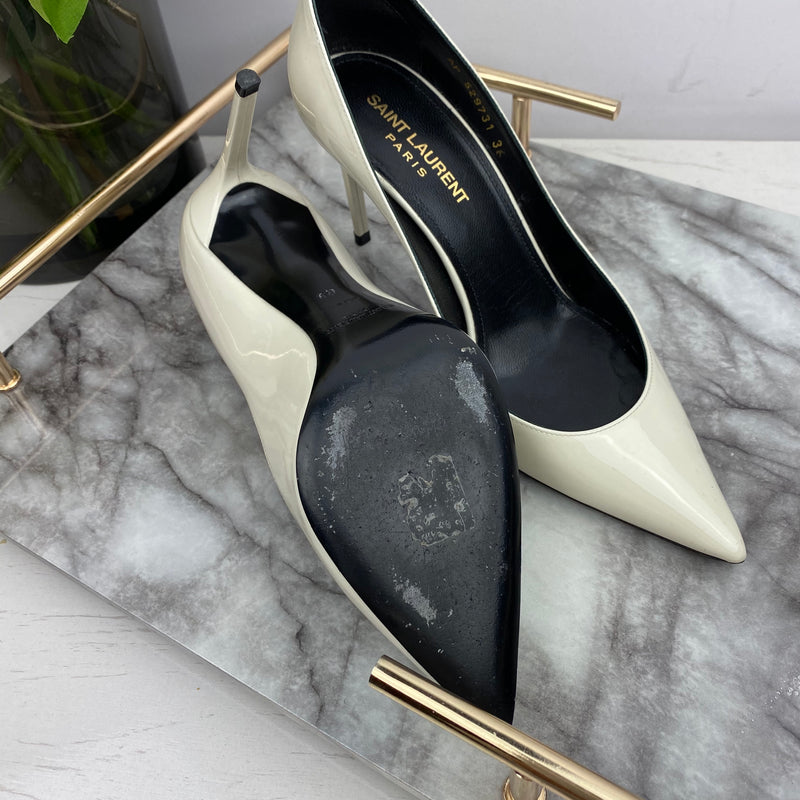 Saint Laurent YSL Cream Patent Court Heels Size 36
