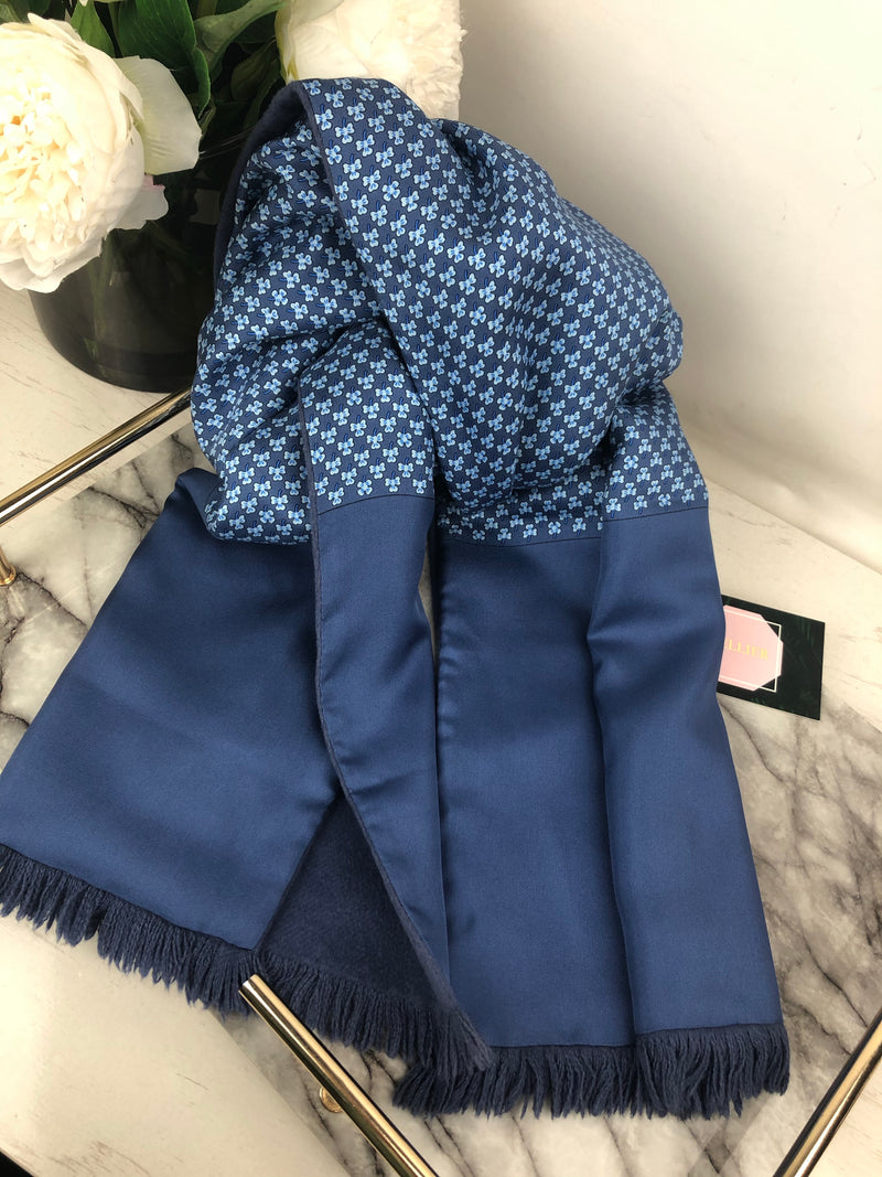 Hermes Blue Silk and Angora Long Scarf