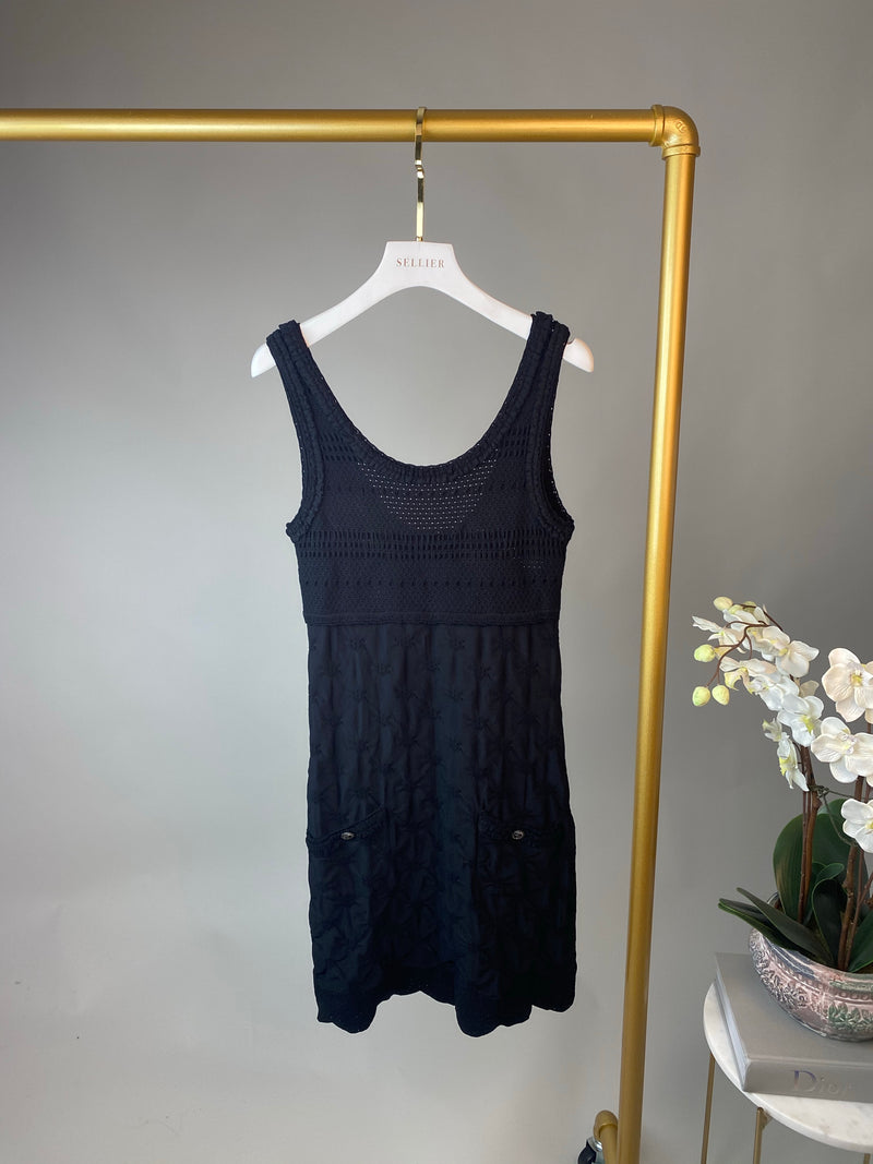 Chanel Black Knitted Round Neck Dress Size 36