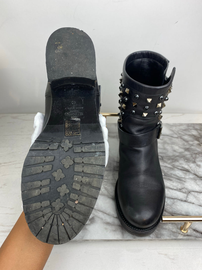 Valentino Black Studded Belted Ankle Boots Size 40